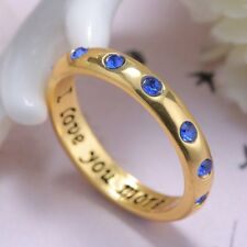 I Love You More Sapphires Crystal Charm Poesy Ring Unisex 18K Gold Engraved #7