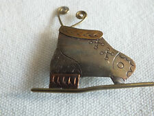 """Holiday Brooch Pin Gold Silver Copper Tone Ice Skate 1 1/2"""" UNIQUE"""