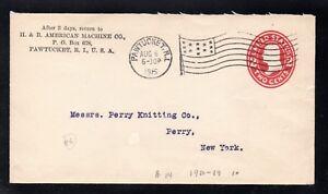 Scott # U411b, Entire, 2¢ Wash, 1907, H & B American Machine Co., Pawtucket, RI