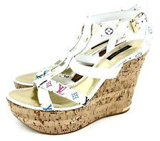 Louis Vuitton Sz 39 Platform Wedge Heel Shoes White Multicolor Monogram New