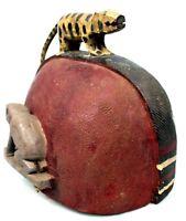 Arte Africano - Cappello Tradizionale Di Devin Baule IN Legno - Ethnic