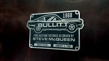 CUSTOM BULLITT MUSTANG SERIAL DATA PLATE PROP 1968 STEVE MCQUEEN MOVIE FORD