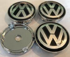 X 4 Centres Roues Cache Moyeux VW Volskwagen 60 mm Noirs Neufs