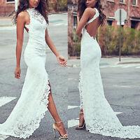 Womens Lace Mermaid Sleeveless Bodycon Maxi Dress Bridal Wedding Evening White