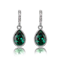 Sparkle Crystal Emerald Green Teardrop Dangle Rhinestone Drop Earrings E1135