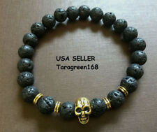 (2) Lava Stone Beads Skull  Mens Womens Bracelet STRETCHY ADJUSTABLE