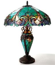 "Stained Glass Chloe Lighting Victorian 3 Light Double Lit Table Lamp 18"" Shade"