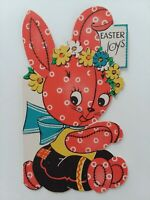 1945 Vtg PINK CALICO BUNNY Die Cut EASTER JOYS GREETING CARD