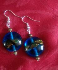 Lampwork drop dangle, silver plated earrings, blue/gold tibetan bead (341)