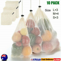 10X Eco-friendly Reusable Durable Produce Bags Natural Cotton Mesh Packaging Bag