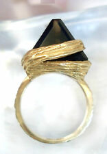 Vintage Fine Jewelry Smokey Topaz 14kt Solitare Unique  Ring