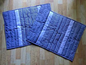Crate Barrel LAURO Standard Shams (2) Pair Gray Stripe Vertical Quilting Cotton