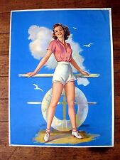 1940s Pin Up Girl Picture by Erbit Long Legs Auburn Hair Girl Posing on Boat M