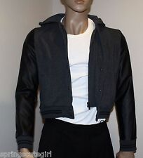 Rue 21 Gray w/ Black Leather Sleeve Jacket Size ~ Large For Dudes