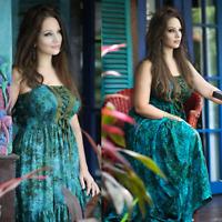 Boho Maxi Dress Peasant Lace-Up elasticized Bodice - Small to Plus Size- U853