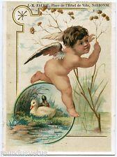 CHROMO. Joli petit ange . canards . Angel . Ducks .