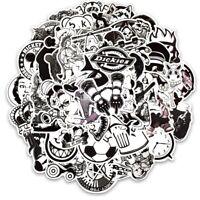 Black and White Sticker Pack, Vinyl Decal, JDM Car Graffiti Random Mix Lot 50 pc