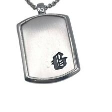 New Guess Silver Tone Necklace Chain Link Dog Tag