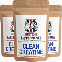 Clean Creatine Monohydrate Veg Capsules 1,186mg Strong UK British supplements