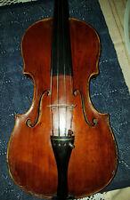 old Violin, alte Geige mit Brandmarke u Zettel