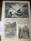 Antique 1861 Civil War Newspaper Page Fort Sumter Explosion Of Gun Illustration