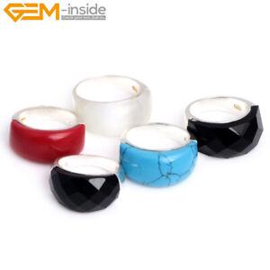 Christmas Gift Women Tibetan Silver Base Rectangle Gemstone Ring XMAS 10X22mm