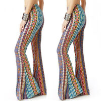 Womens High Waist Wide Leg Pants Hippie Flared Bell-Bottoms Casual Slim Trousers