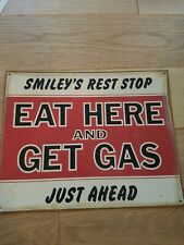 Tin Metal Sign  Eat Here and Get Gas