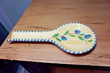 Pier 1 Spoon Holder Yellow with Blue & Green Flowers Marked Italy  Free Shipping