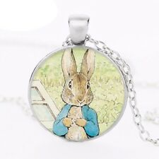 Peter Rabbit Glass Dome Pendant Necklace Silver, Cute Bunny Jewellery Gift