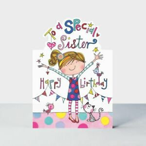 Birthday Card - Sister Cat - Glitter Die-cut - Jelly Moulds Quality NEW