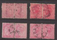 South Australia postmarks on 4 x QV pairs