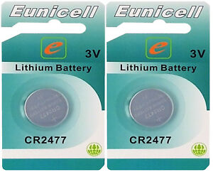 ☀️☀️☀️☀️☀️ 2 x CR2477( 3V 1050 mAh)Lithium Knopfzelle(2 Cards EINZELBLISTER)Euni
