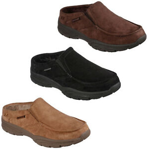 Skechers Relaxed Fit Slippers Comfy Mens Slip On Faux Fur Memory Foam Shoes