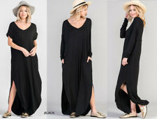 Oversized Soft Knit Long T-Shirt Maxi Dress Loose Draping Dolman Sleeves Pockets