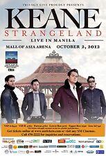 "KEANE ""STRANGELAND"" 2012 MANILA CONCERT TOUR POSTER-Alt.Pop,Pop/Piano Rock Music"