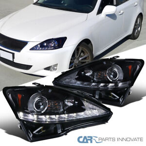 Glossy Black 06-09 Fit Lexus IS250 IS350 LED Strip Projector Headlights+Signal