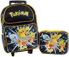 """Pokemon 16"""" Large Roller Backpack Lunch Bag 2pc Rolling Bag NEW Black Backpack"""