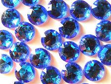 120 Sky Blue Beads Acrylic Rhinestone Gems 15 mm Round Stones Flat Back Sew On