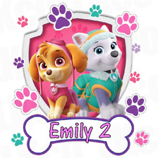 "Paw Patrol Skye and Everest Personalised Cake Topper 7.5"" Edible Wafer Paper"
