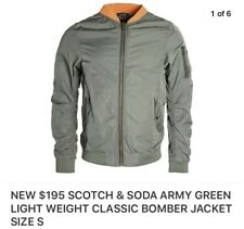 NEW $195 SCOTCH & SODA ARMY GREEN LIGHT WEIGHT CLASSIC BOMBER JACKET SIZE S