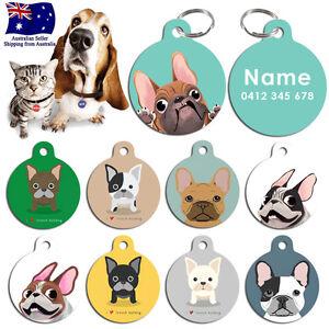 Metal Personalized Pet cat dog Tag Stripes Key ring Name Tags French Bulldog