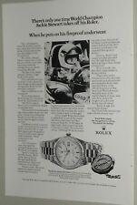1972 ROLEX advertisement, Rolex Oyster Day-Date watch,  Jackie Stewart race car