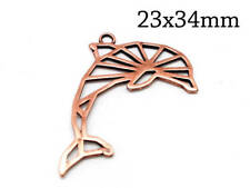 5pcs pendant geometric dolphin 23x34mm Antique Copper plated, Jewelry Making