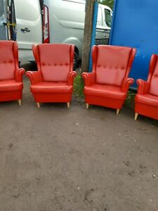 Red Faux Leather Highback Wingback Chair Fireside Chair Man Cave Can Deliver