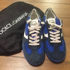 AUTHENTIC NEW DOLCE GABBANA SNEAKERS MEN SIZE 6 BLUE/WHITE/NAVYBLUE WITH SHOEBAG