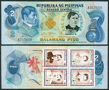 2 Pesos JOSE RIZAL DEATH ANNIVERSARY w/ ASEANPEX Stamp Commemorative Banknote G