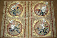 Chefs Delight ~ Chefs on Bicycles Tapestry Placemats Set ~ Set/4