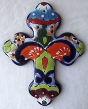 "BEAUTIFUL MEXICAN TALAVERA HAND PAINTED FOLK ART POTTERY TILE CROSS #2  8-1/4"" T"