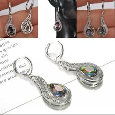 Lady Dangle Cocktail Earrings Gifts White Gold Mystic Topaz Hollow Waterdrop